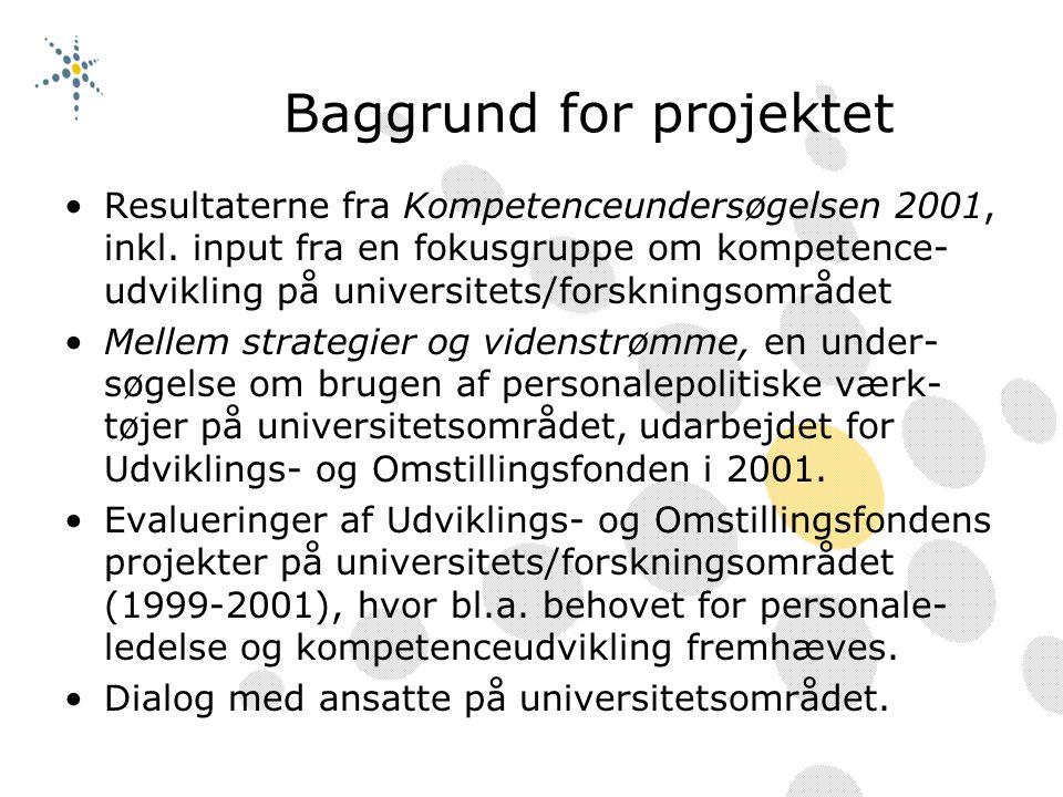Baggrund for projektet Resultaterne fra Kompetenceundersøgelsen 2001, inkl.