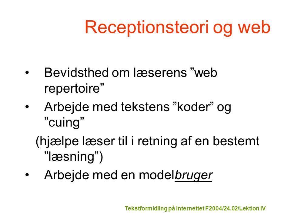 Tekstformidling på Internettet F2004/24.02/Lektion IV Receptionsteori og web Bevidsthed om læserens web repertoire Arbejde med tekstens koder og cuing (hjælpe læser til i retning af en bestemt læsning ) Arbejde med en modelbruger