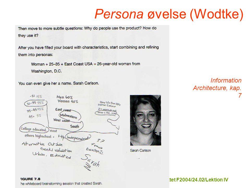 Tekstformidling på Internettet F2004/24.02/Lektion IV Information Architecture, kap.