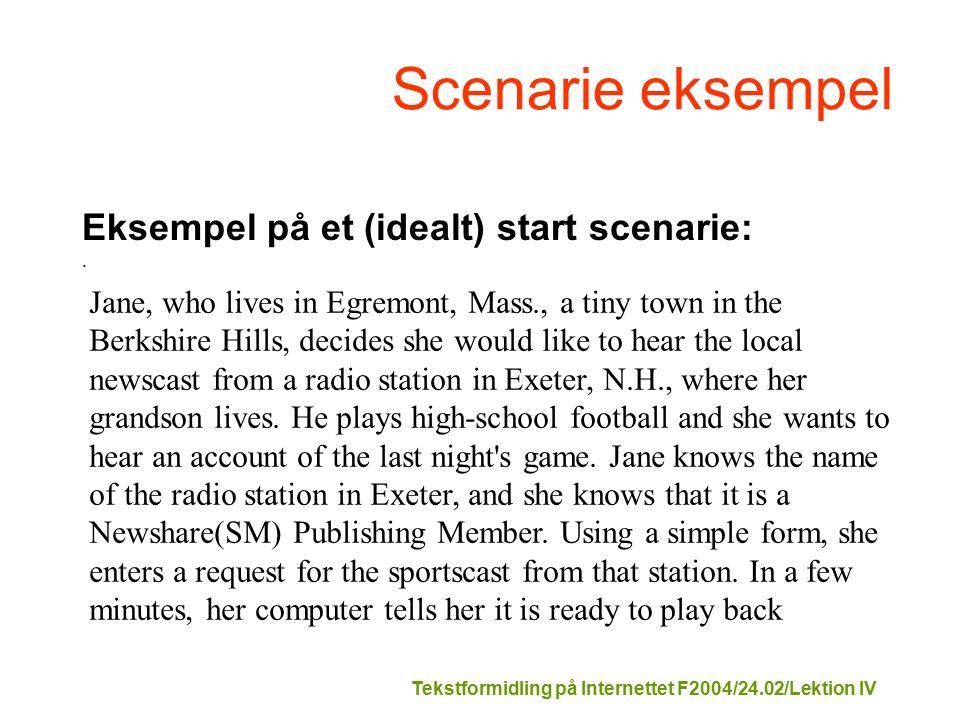 Tekstformidling på Internettet F2004/24.02/Lektion IV Scenarie eksempel Eksempel på et (idealt) start scenarie:.