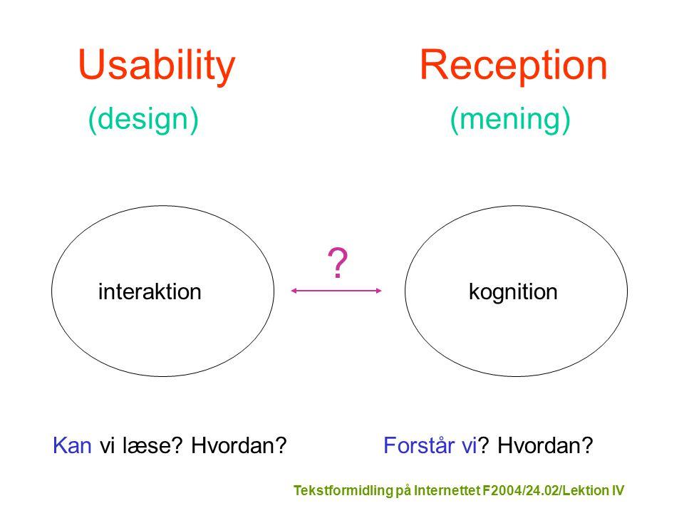 Tekstformidling på Internettet F2004/24.02/Lektion IV interaktionkognition Kan vi læse.