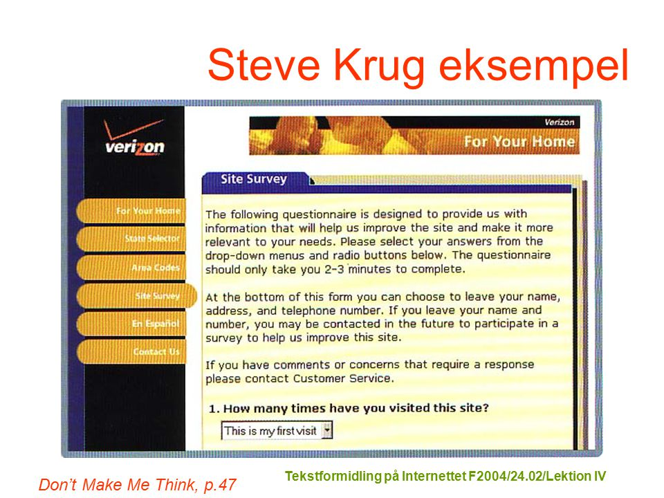Tekstformidling på Internettet F2004/24.02/Lektion IV Steve Krug eksempel Don't Make Me Think, p.47