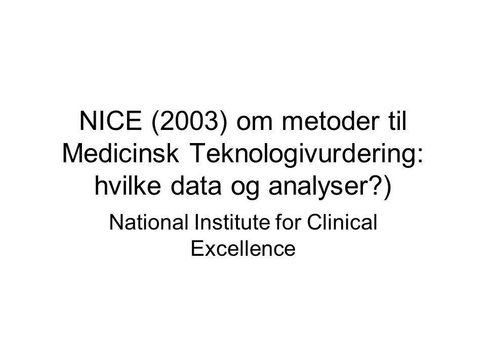 NICE (2003) om metoder til Medicinsk Teknologivurdering: hvilke data og analyser ) National Institute for Clinical Excellence