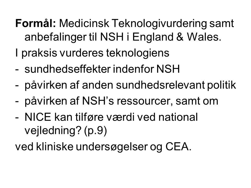 Formål: Medicinsk Teknologivurdering samt anbefalinger til NSH i England & Wales.