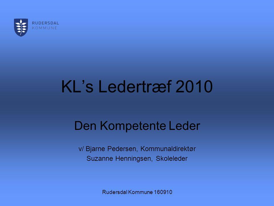 Rudersdal Kommune 160910 KL's Ledertræf 2010 Den Kompetente Leder v/ Bjarne Pedersen, Kommunaldirektør Suzanne Henningsen, Skoleleder