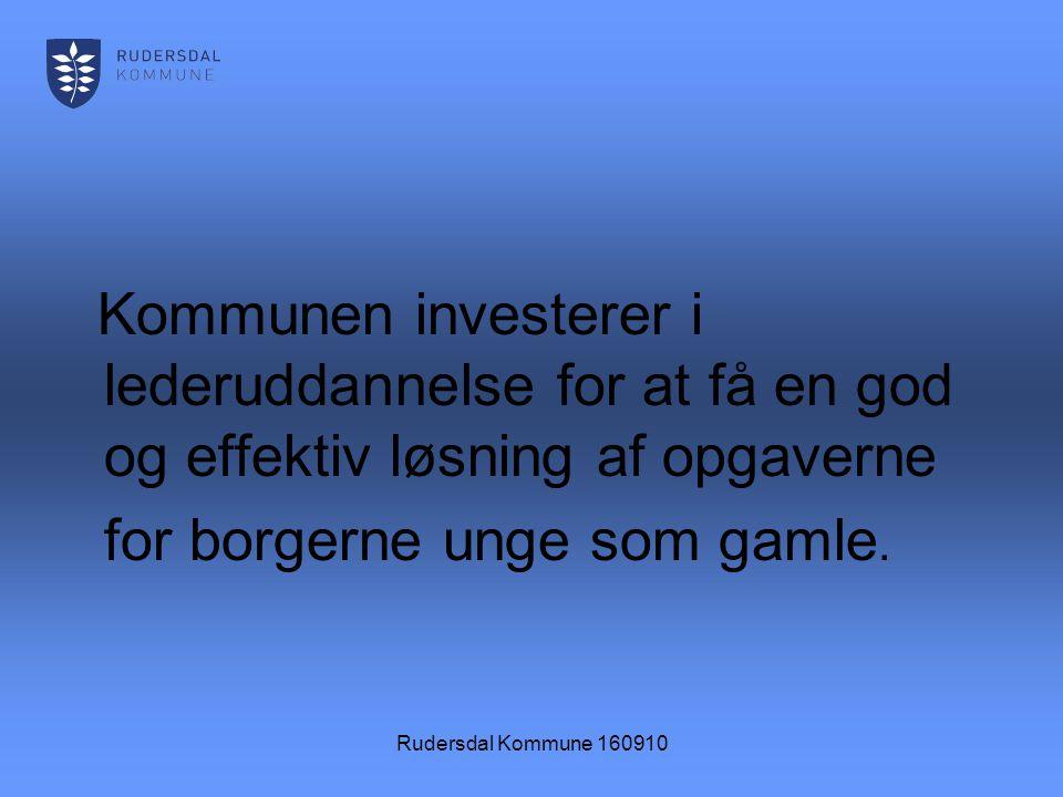 Rudersdal Kommune 160910 Kommunen investerer i lederuddannelse for at få en god og effektiv løsning af opgaverne for borgerne unge som gamle.