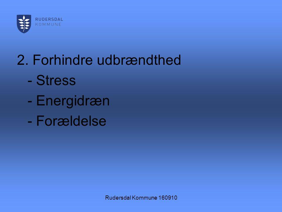 Rudersdal Kommune 160910 2. Forhindre udbrændthed - Stress - Energidræn - Forældelse