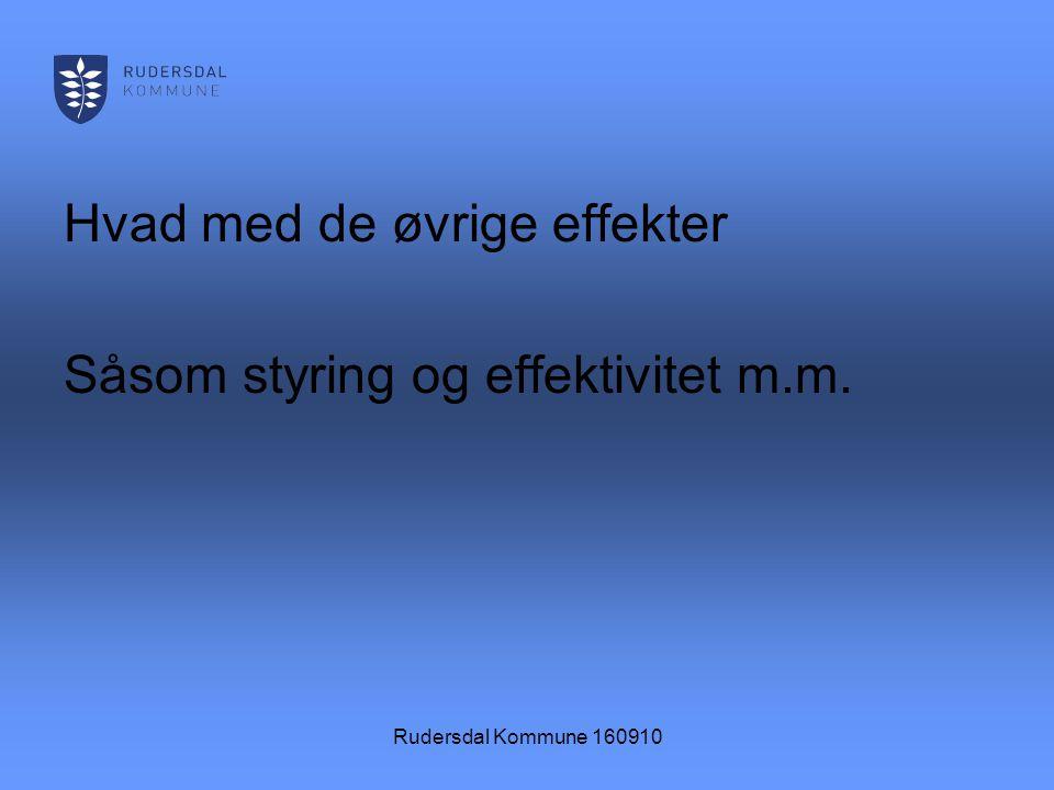 Rudersdal Kommune 160910 Hvad med de øvrige effekter Såsom styring og effektivitet m.m.