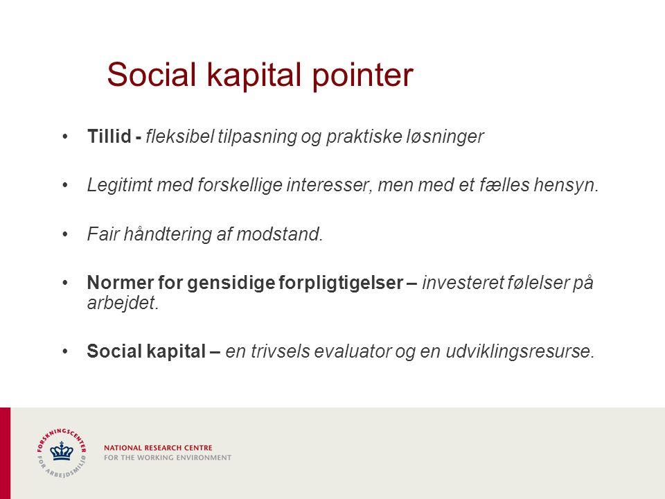 Social kapital pointer Tillid - fleksibel tilpasning og praktiske løsninger Legitimt med forskellige interesser, men med et fælles hensyn.