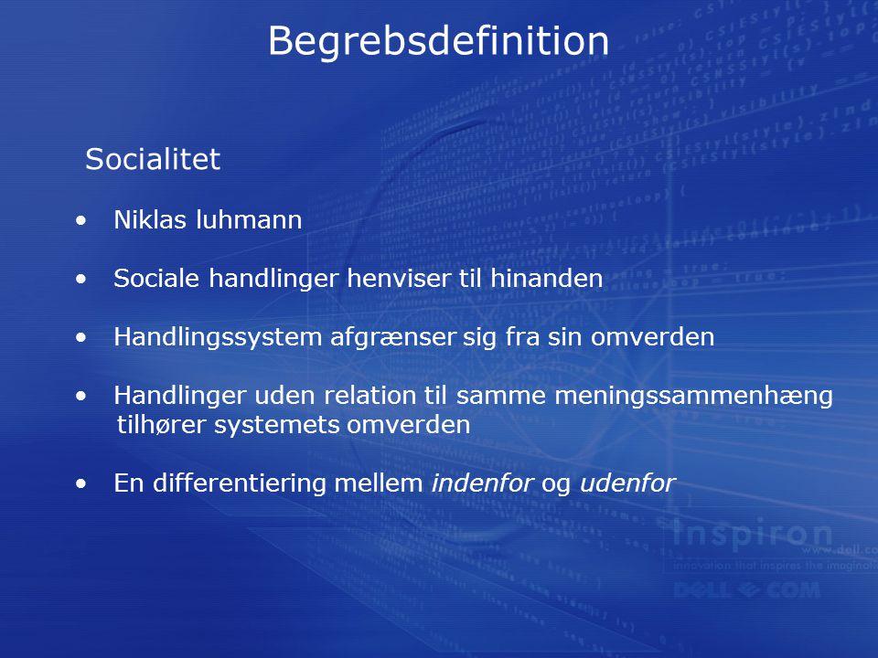 Begrebsdefinition Socialitet Niklas luhmann Sociale handlinger henviser til hinanden Handlingssystem afgrænser sig fra sin omverden Handlinger uden relation til samme meningssammenhæng tilhører systemets omverden En differentiering mellem indenfor og udenfor