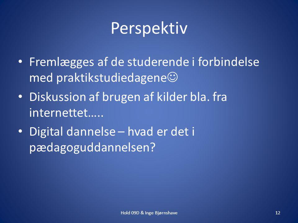Perspektiv Fremlægges af de studerende i forbindelse med praktikstudiedagene Diskussion af brugen af kilder bla.