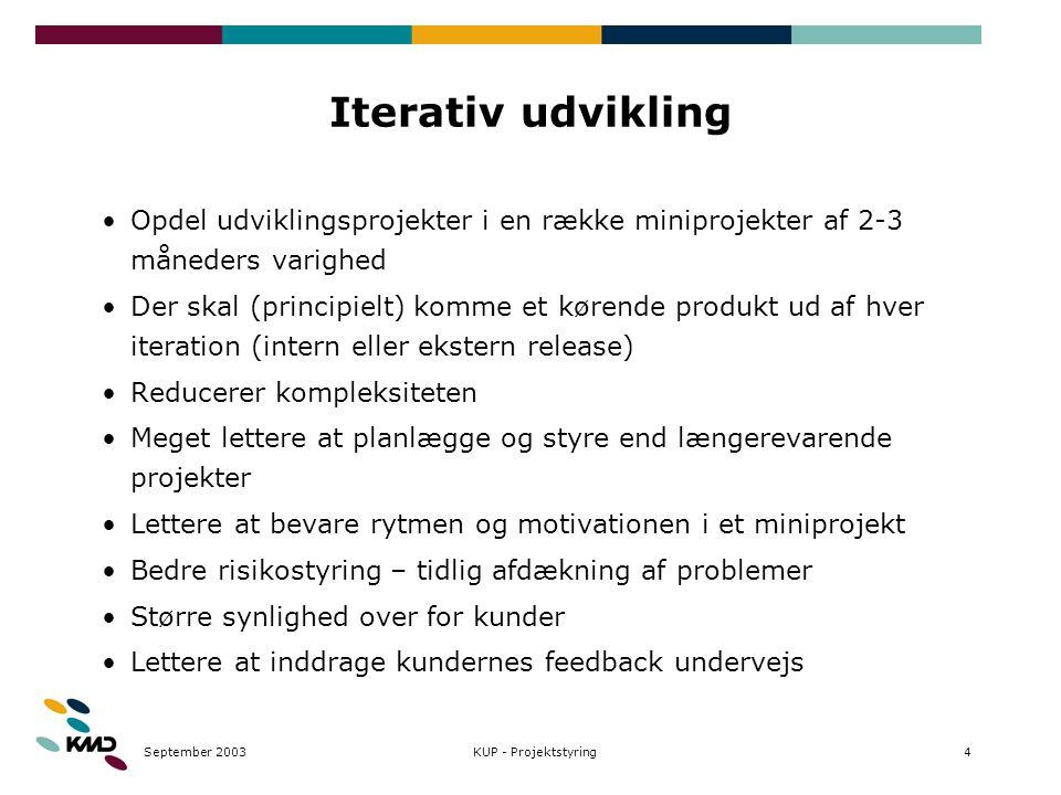 September 20034KUP - Projektstyring Iterativ udvikling Opdel udviklingsprojekter i en række miniprojekter af 2-3 måneders varighed Der skal (principie