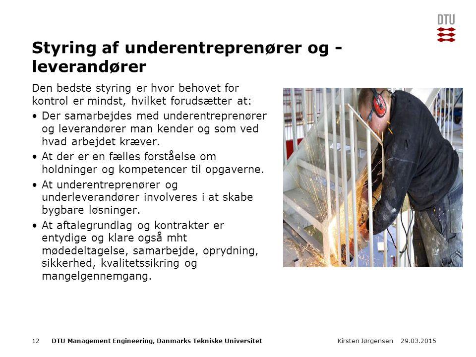 DTU Management Engineering, Danmarks Tekniske Universitet Add Presentation Title in Footer via Insert ; Header & Footer Styring af underentreprenører og - leverandører Den bedste styring er hvor behovet for kontrol er mindst, hvilket forudsætter at: Der samarbejdes med underentreprenører og leverandører man kender og som ved hvad arbejdet kræver.