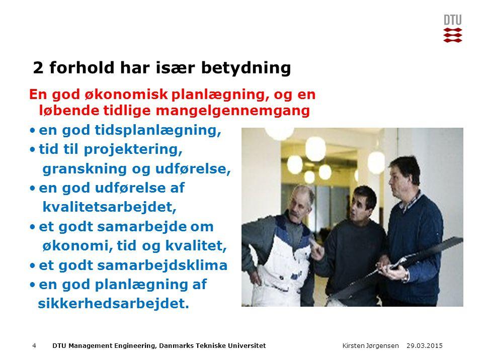 DTU Management Engineering, Danmarks Tekniske Universitet Add Presentation Title in Footer via Insert ; Header & Footer 2 forhold har især betydning En god økonomisk planlægning, og en løbende tidlige mangelgennemgang en god tidsplanlægning, tid til projektering, granskning og udførelse, en god udførelse af kvalitetsarbejdet, et godt samarbejde om økonomi, tid og kvalitet, et godt samarbejdsklima en god planlægning af sikkerhedsarbejdet.