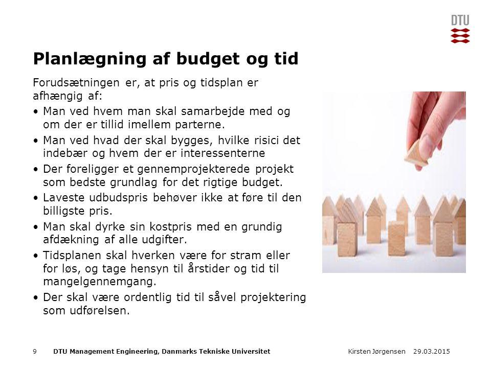 DTU Management Engineering, Danmarks Tekniske Universitet Add Presentation Title in Footer via Insert ; Header & Footer Planlægning af budget og tid Forudsætningen er, at pris og tidsplan er afhængig af: Man ved hvem man skal samarbejde med og om der er tillid imellem parterne.