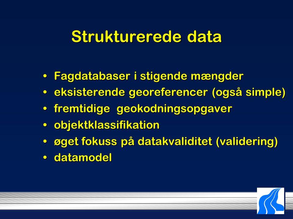 Strukturerede data Fagdatabaser i stigende mængderFagdatabaser i stigende mængder eksisterende georeferencer (også simple)eksisterende georeferencer (også simple) fremtidige geokodningsopgaverfremtidige geokodningsopgaver objektklassifikationobjektklassifikation øget fokuss på datakvaliditet (validering)øget fokuss på datakvaliditet (validering) datamodeldatamodel