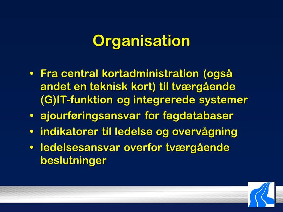 Organisation Fra central kortadministration (også andet en teknisk kort) til tværgående (G)IT-funktion og integrerede systemerFra central kortadministration (også andet en teknisk kort) til tværgående (G)IT-funktion og integrerede systemer ajourføringsansvar for fagdatabaserajourføringsansvar for fagdatabaser indikatorer til ledelse og overvågningindikatorer til ledelse og overvågning ledelsesansvar overfor tværgående beslutningerledelsesansvar overfor tværgående beslutninger
