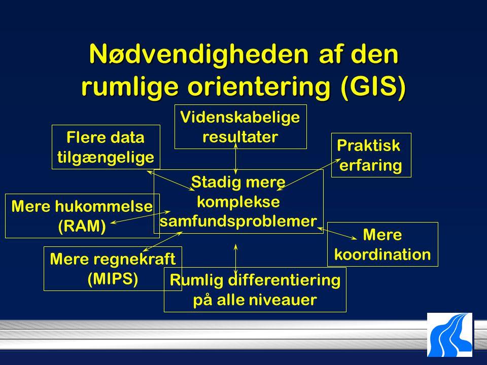 Nødvendigheden af den rumlige orientering (GIS) Flere data tilgængelige Videnskabelige resultater Praktisk erfaring Stadig mere komplekse samfundsproblemer Mere hukommelse (RAM) Mere regnekraft (MIPS) Rumlig differentiering på alle niveauer Mere koordination
