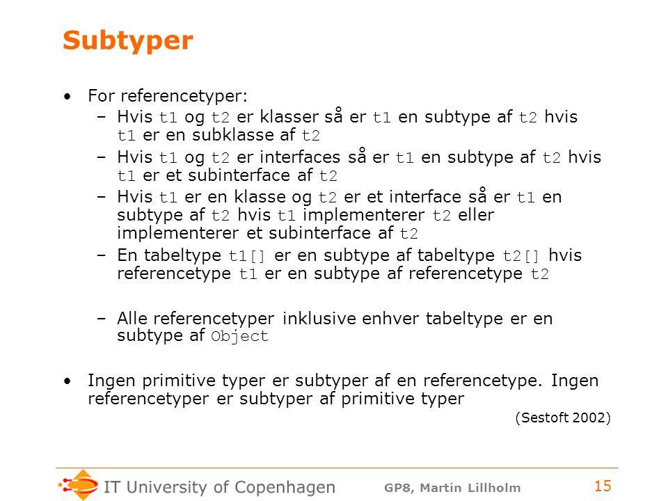GP8, Martin Lillholm 15 Subtyper For referencetyper: –Hvis t1 og t2 er klasser så er t1 en subtype af t2 hvis t1 er en subklasse af t2 –Hvis t1 og t2 er interfaces så er t1 en subtype af t2 hvis t1 er et subinterface af t2 –Hvis t1 er en klasse og t2 er et interface så er t1 en subtype af t2 hvis t1 implementerer t2 eller implementerer et subinterface af t2 –En tabeltype t1[] er en subtype af tabeltype t2[] hvis referencetype t1 er en subtype af referencetype t2 –Alle referencetyper inklusive enhver tabeltype er en subtype af Object Ingen primitive typer er subtyper af en referencetype.
