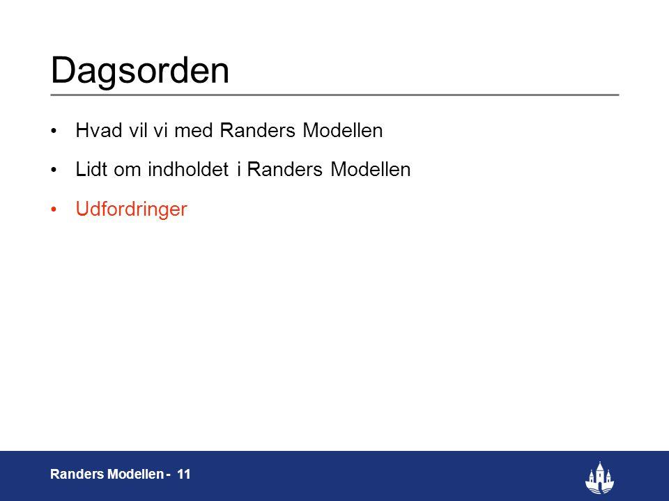 11 Randers Modellen - 11 Dagsorden Hvad vil vi med Randers Modellen Lidt om indholdet i Randers Modellen Udfordringer
