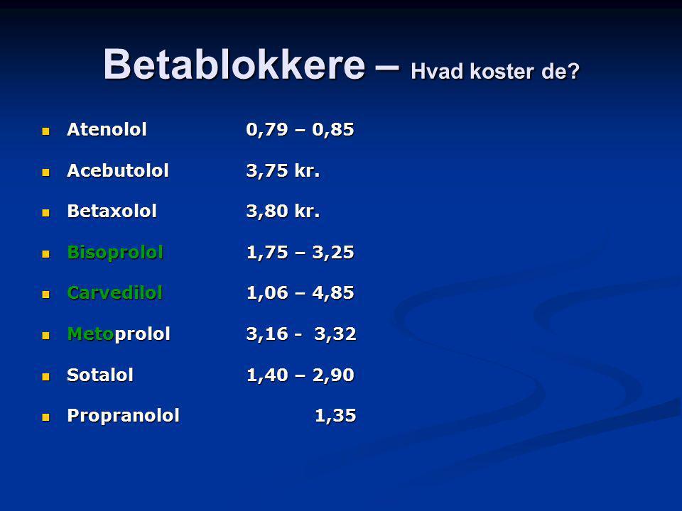 Betablokkere – Hvad koster de. Atenolol 0,79 – 0,85 Atenolol 0,79 – 0,85 Acebutolol3,75 kr.
