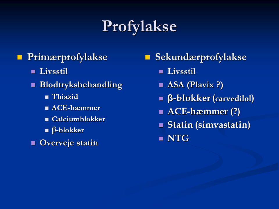 Profylakse Primærprofylakse Primærprofylakse Livsstil Livsstil Blodtryksbehandling Blodtryksbehandling Thiazid Thiazid ACE-hæmmer ACE-hæmmer Calciumblokker Calciumblokker β -blokker β -blokker Overveje statin Overveje statin Sekundærprofylakse Livsstil ASA (Plavix ) β -blokker ( carvedilol ) ACE-hæmmer ( ) Statin (simvastatin) NTG