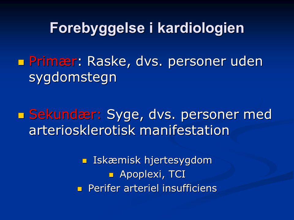 Forebyggelse i kardiologien Primær: Raske, dvs. personer uden sygdomstegn Primær: Raske, dvs.