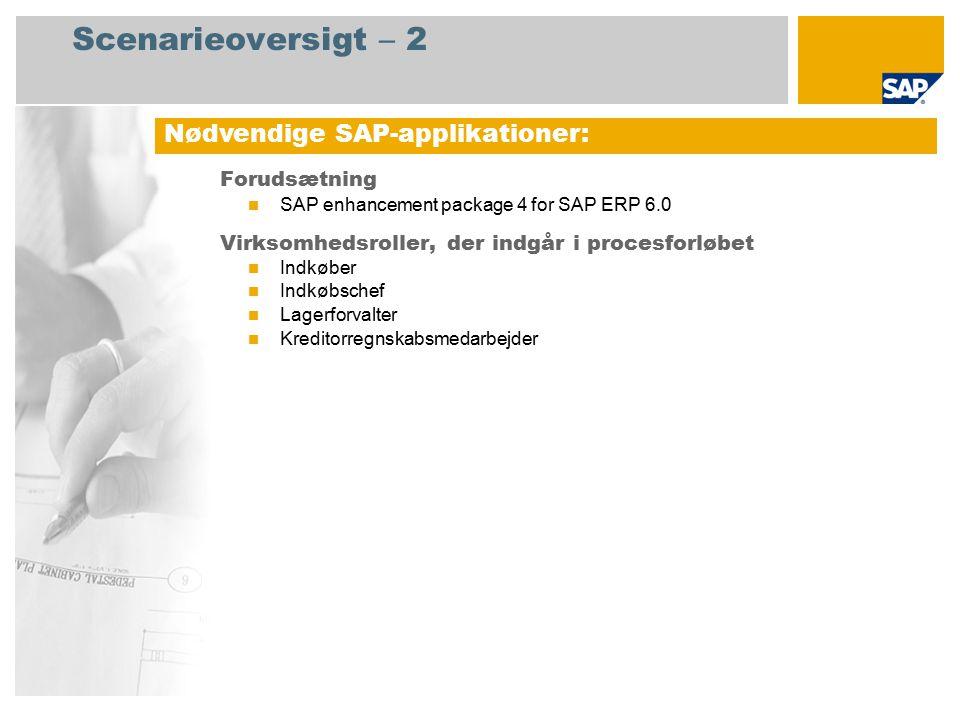 Scenarieoversigt – 2 Forudsætning SAP enhancement package 4 for SAP ERP 6.0 Virksomhedsroller, der indgår i procesforløbet Indkøber Indkøbschef Lagerforvalter Kreditorregnskabsmedarbejder Nødvendige SAP-applikationer: