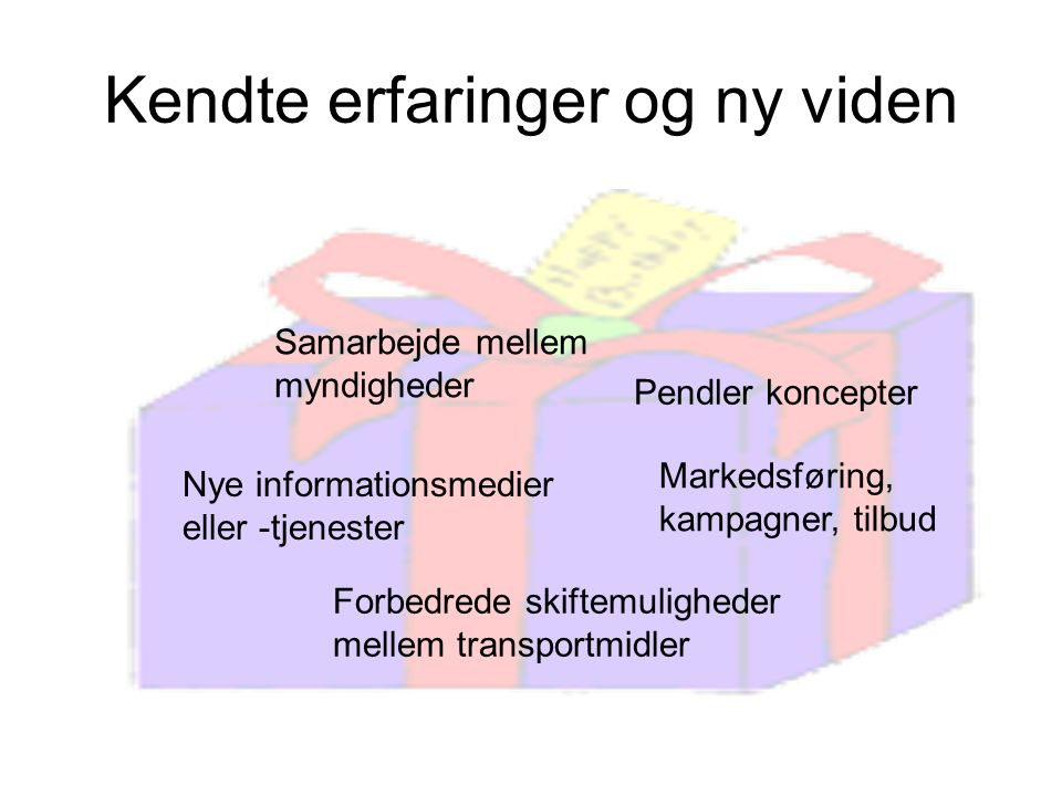 Kendte erfaringer og ny viden Samarbejde mellem myndigheder Nye informationsmedier eller -tjenester Pendler koncepter Markedsføring, kampagner, tilbud Forbedrede skiftemuligheder mellem transportmidler