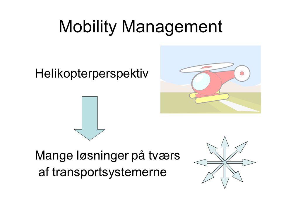 Mobility Management Helikopterperspektiv Mange løsninger på tværs af transportsystemerne