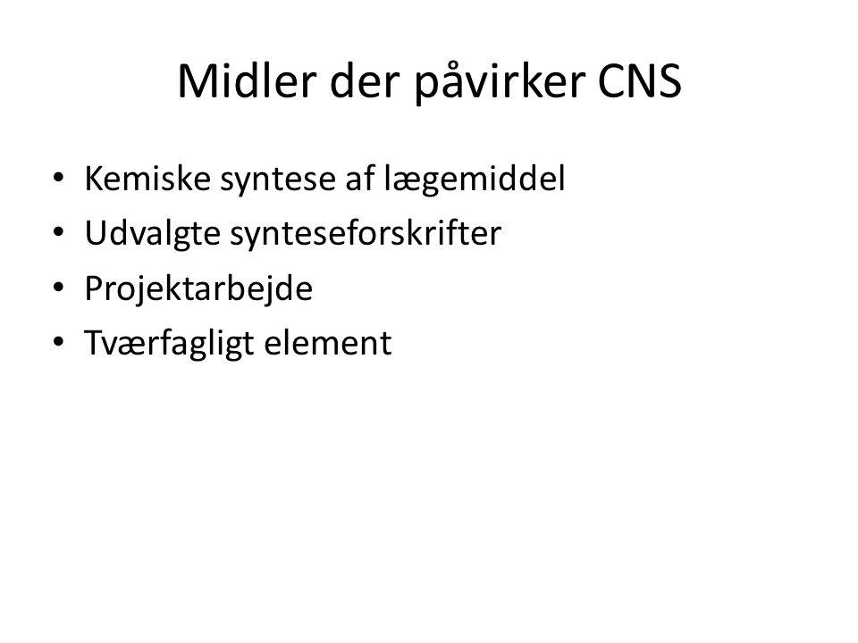 Midler der påvirker CNS Kemiske syntese af lægemiddel Udvalgte synteseforskrifter Projektarbejde Tværfagligt element