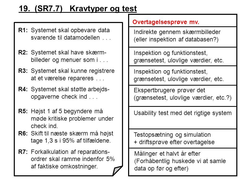 R1:Systemet skal opbevare data svarende til datamodellen...