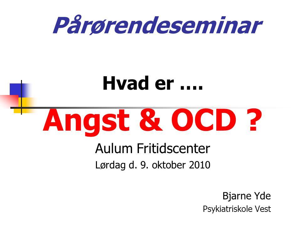 Pårørendeseminar Hvad er …. Angst & OCD . Aulum Fritidscenter Lørdag d.