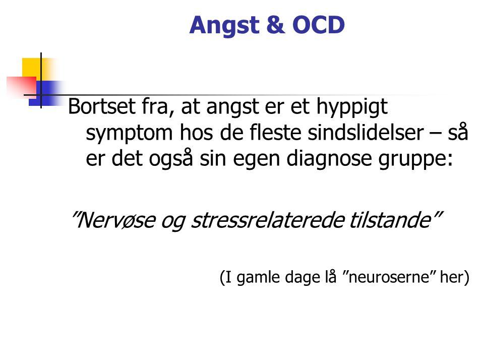 Angst & OCD Bortset fra, at angst er et hyppigt symptom hos de fleste sindslidelser – så er det også sin egen diagnose gruppe: Nervøse og stressrelaterede tilstande (I gamle dage lå neuroserne her)