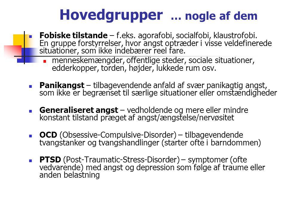 Hovedgrupper … nogle af dem Fobiske tilstande – f.eks.