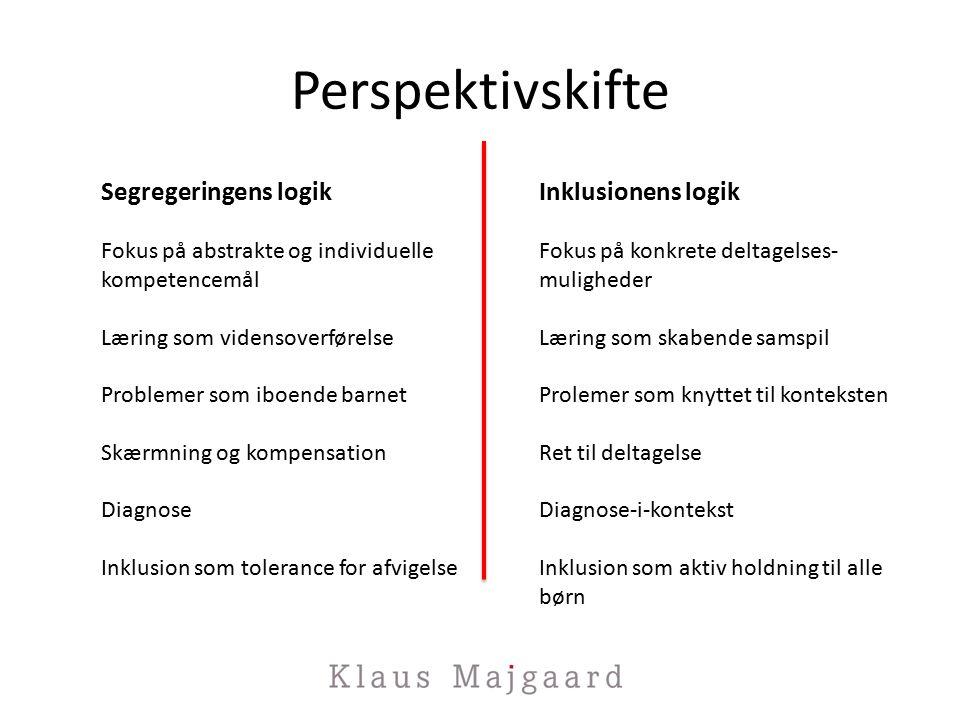 Perspektivskifte Segregeringens logik Fokus på abstrakte og individuelle kompetencemål Læring som vidensoverførelse Problemer som iboende barnet Skærmning og kompensation Diagnose Inklusion som tolerance for afvigelse Inklusionens logik Fokus på konkrete deltagelses- muligheder Læring som skabende samspil Prolemer som knyttet til konteksten Ret til deltagelse Diagnose-i-kontekst Inklusion som aktiv holdning til alle børn