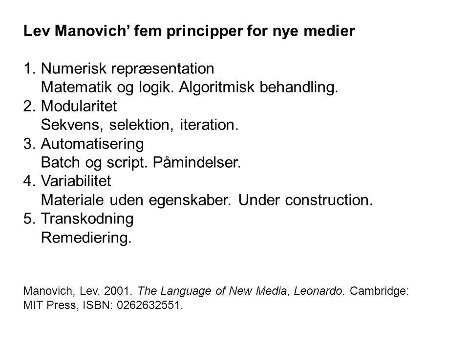 Lev Manovich' fem principper for nye medier 1.Numerisk repræsentation Matematik og logik.