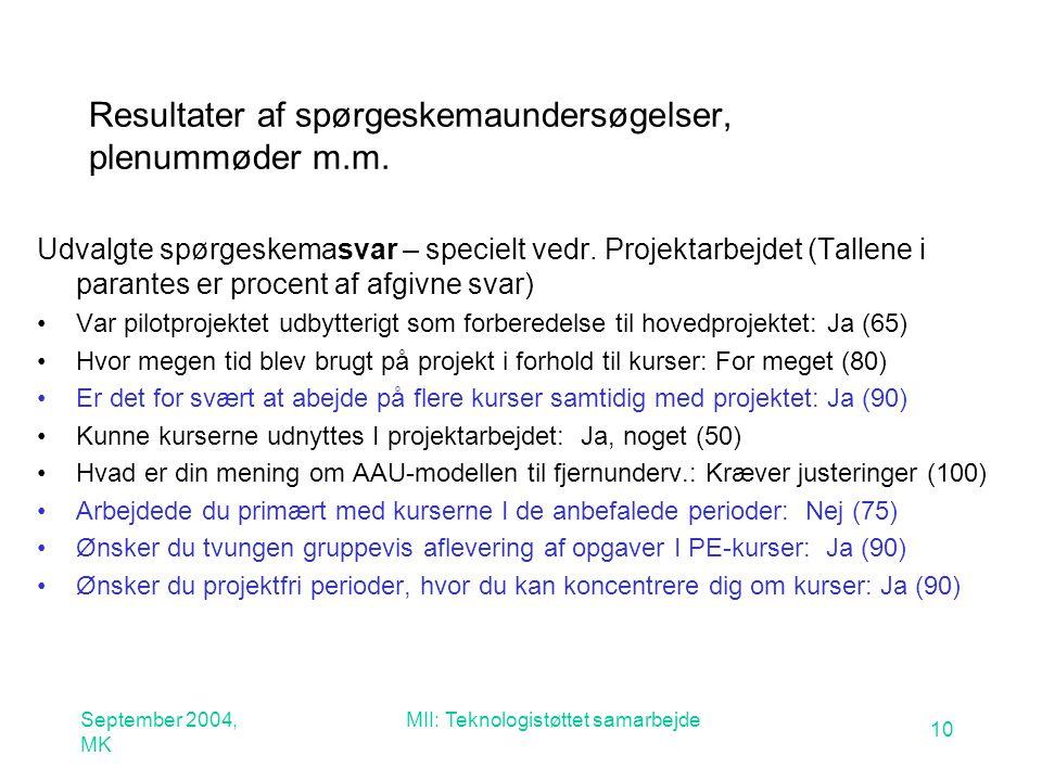 September 2004, MK MII: Teknologistøttet samarbejde 10 Resultater af spørgeskemaundersøgelser, plenummøder m.m.