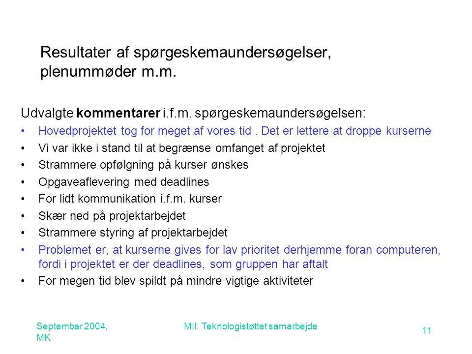 September 2004, MK MII: Teknologistøttet samarbejde 11 Resultater af spørgeskemaundersøgelser, plenummøder m.m.