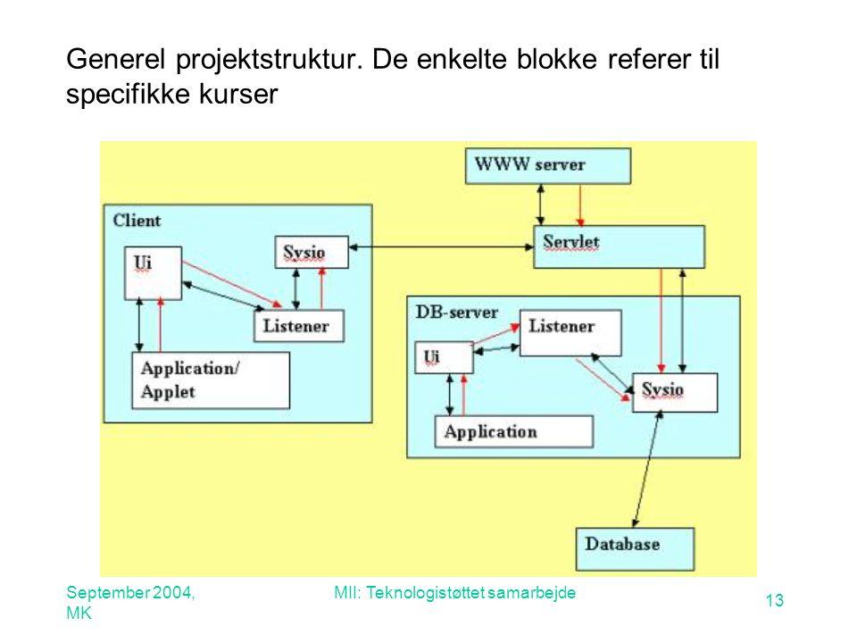 September 2004, MK MII: Teknologistøttet samarbejde 13 Generel projektstruktur.