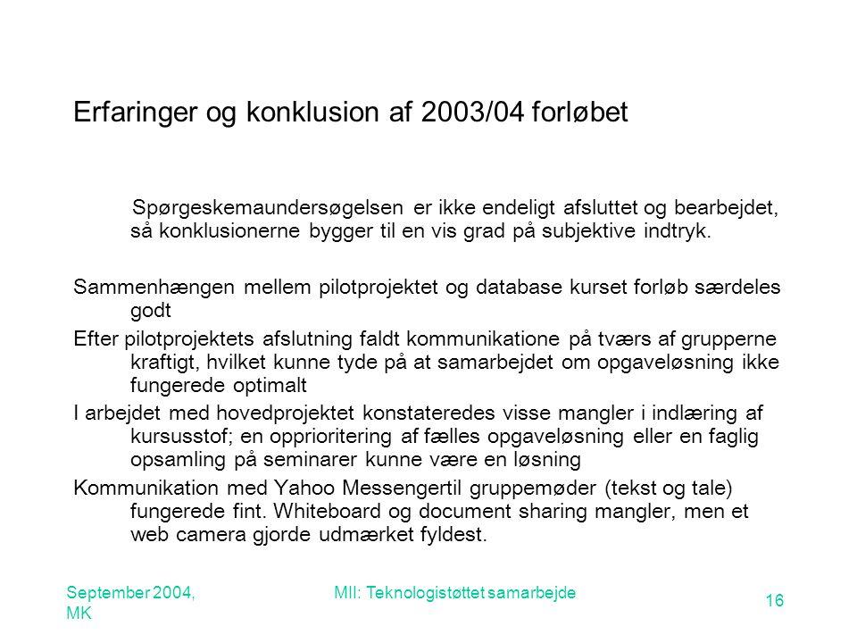 September 2004, MK MII: Teknologistøttet samarbejde 16 Erfaringer og konklusion af 2003/04 forløbet Spørgeskemaundersøgelsen er ikke endeligt afsluttet og bearbejdet, så konklusionerne bygger til en vis grad på subjektive indtryk.