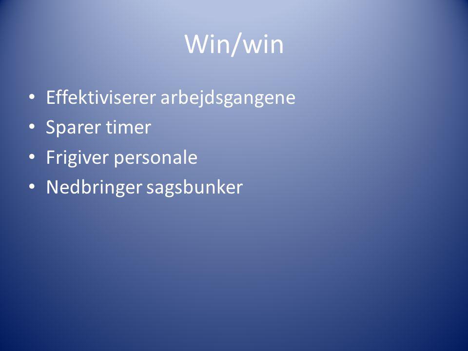 Win/win Effektiviserer arbejdsgangene Sparer timer Frigiver personale Nedbringer sagsbunker