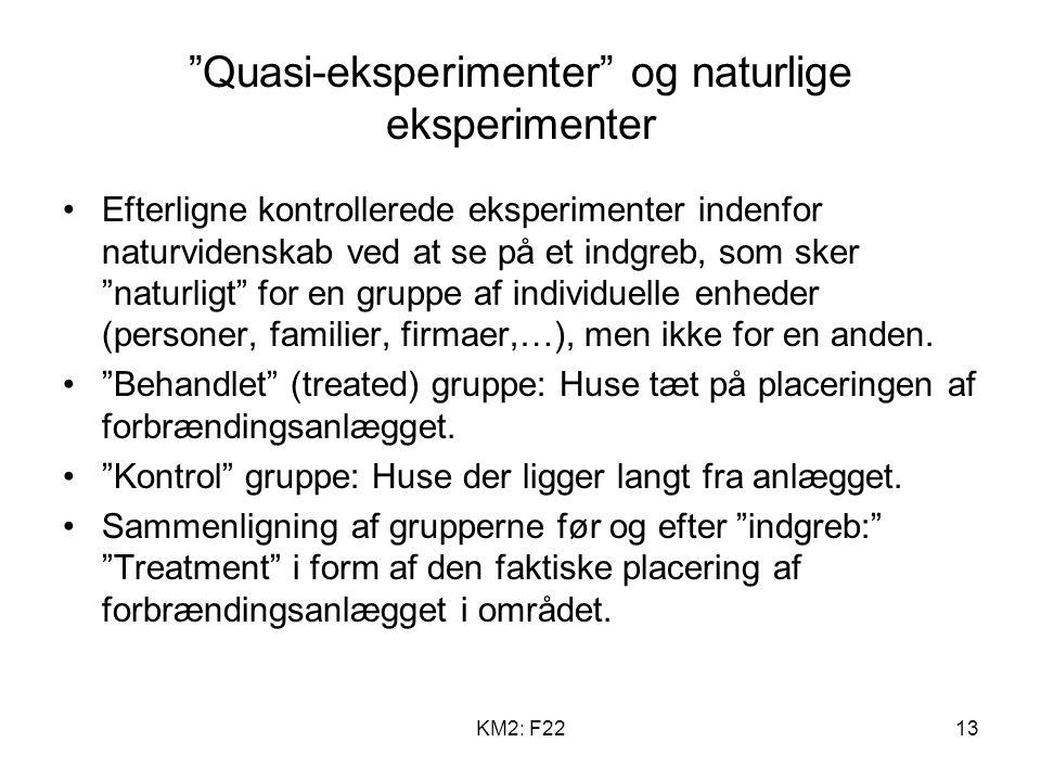 KM2: F2213 Quasi-eksperimenter og naturlige eksperimenter Efterligne kontrollerede eksperimenter indenfor naturvidenskab ved at se på et indgreb, som sker naturligt for en gruppe af individuelle enheder (personer, familier, firmaer,…), men ikke for en anden.