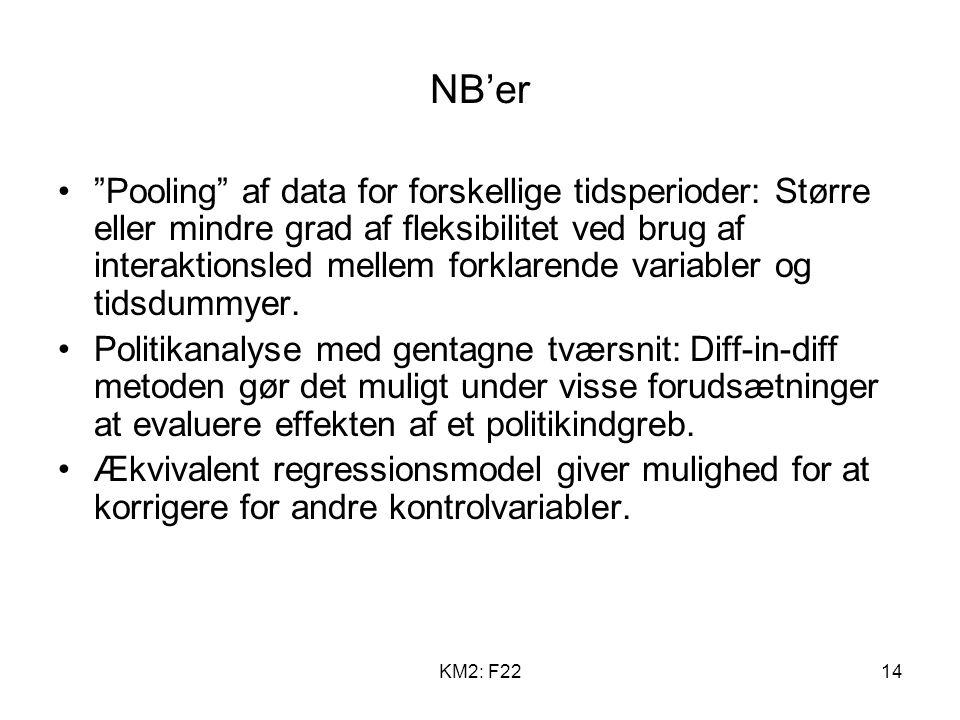 KM2: F2214 NB'er Pooling af data for forskellige tidsperioder: Større eller mindre grad af fleksibilitet ved brug af interaktionsled mellem forklarende variabler og tidsdummyer.