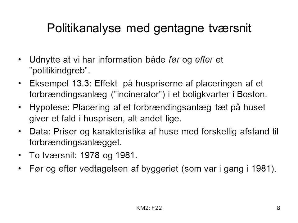 KM2: F228 Politikanalyse med gentagne tværsnit Udnytte at vi har information både før og efter et politikindgreb .
