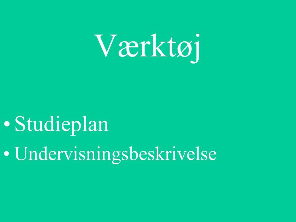 Værktøj Studieplan Undervisningsbeskrivelse
