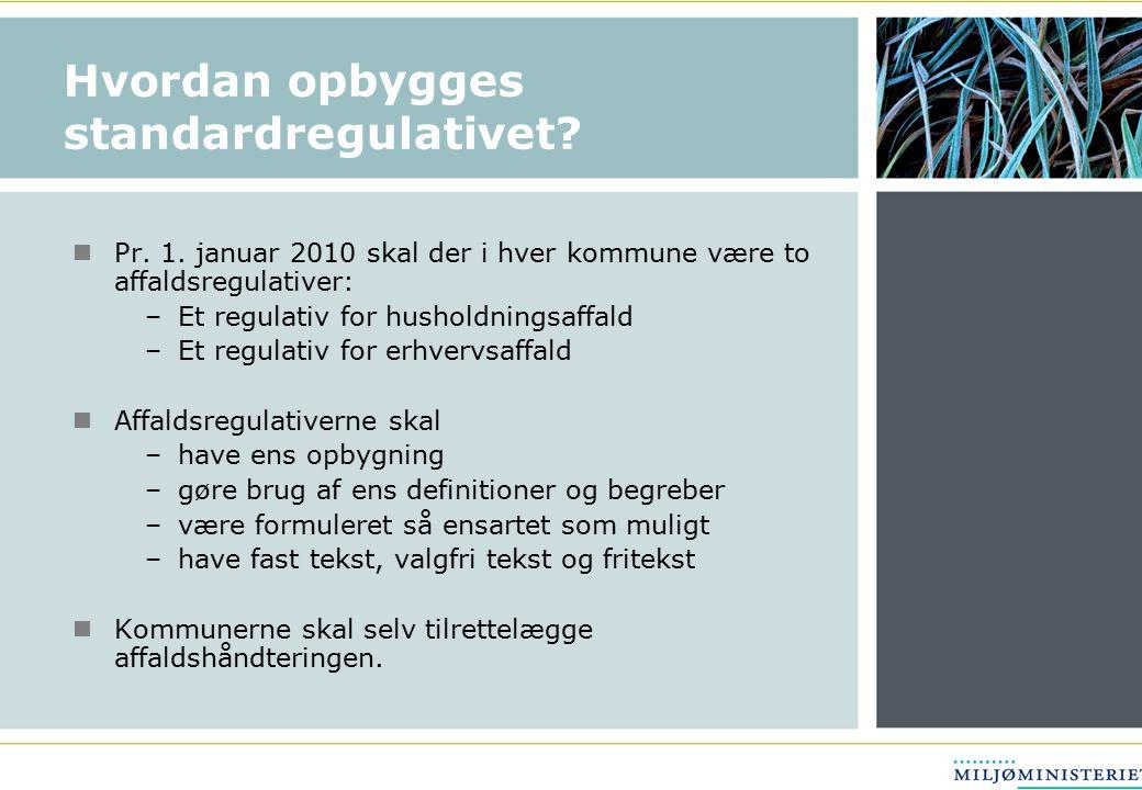 Hvordan opbygges standardregulativet. Pr. 1.