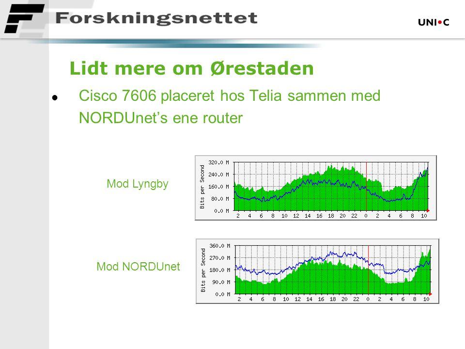 Lidt mere om Ørestaden l Cisco 7606 placeret hos Telia sammen med NORDUnet's ene router Mod NORDUnet Mod Lyngby