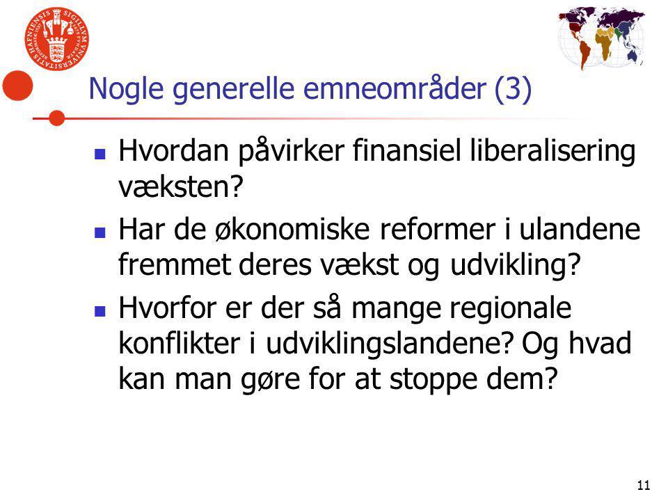 11 Nogle generelle emneområder (3) Hvordan påvirker finansiel liberalisering væksten.