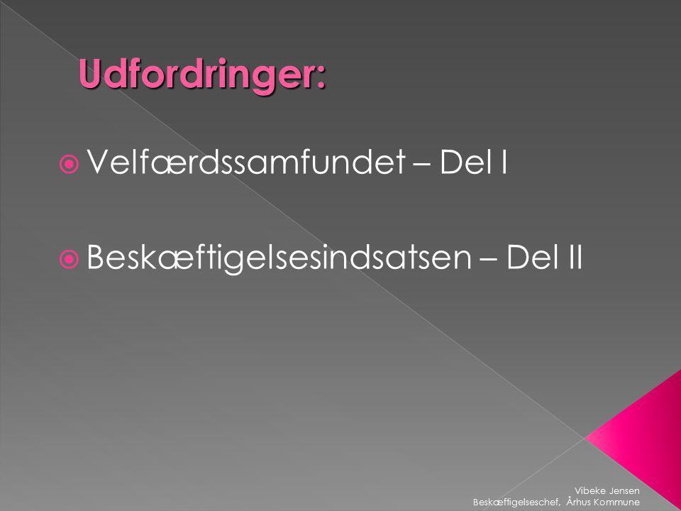 Udfordringer:  Velfærdssamfundet – Del I  Beskæftigelsesindsatsen – Del II Vibeke Jensen Beskæftigelseschef, Århus Kommune